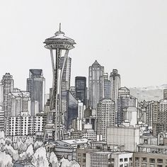 Seattle  #art #drawing #pen #sketch #illustration #linedrawing #seattle #city #cityscape #architecture #washington #closeup