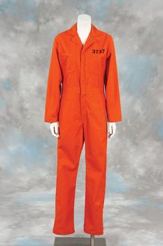Men's Plus Prisoner Orange Halloween Jumpsuit | Convict costume ...