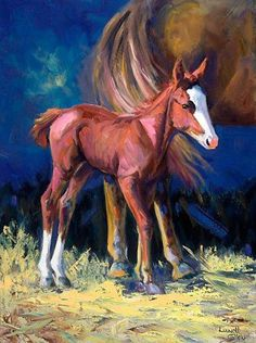 "Artists Of Texas Contemporary Paintings and Art - ""The New One"" Original Equine Oil Painting by Texas Contemporary Fine Artist Lunell Gilley"