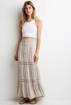 Crochet-Paneled Crepe Maxi Skirt | Forever 21 - $19.99 (COSTA RICA)