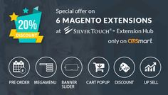 we would like to offer 20% for 6 Magento Extensions only on 5 days, from 5 Oct to 9 Oct as below: 1. Cart Popup Magento Extension 2. Pre Order for Up-Coming  3. Responsive Banner Slider with Multiple Content 4. Mega Menu with Drop Down and Static Block Magento Extension  5. Discount and Special Offer Magento Extension 6. Up Sell Products Magento Extension