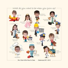 Great Idea for kindergarten class project.  The teacher asked the students what they wanted to be when they grew up.  We took the pictures and added the bodies.  made a great 24x24 canvas.  #fundraiser #kids