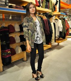 Urban Outfitters Camouflage Jacket, Alexander Mcqueen Print Shirt, Cheap Monday High Waist Jeans, Nelly Foxy Platforms