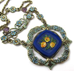 Vintage Enamel Molded Glass Necklace by TonettesTreasures on Etsy