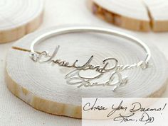SALE Memorial Signature Bangle - Personalized Handwriting Bangle - Keepsake Jewelry in Sterling Silver - Bridesmaid Gift - VALENTINE GIFT