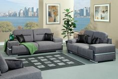 SM6607GY 2 pc Thessaly collection contemporary style grey linen look like fabric upholstered sofa and love seat with accented stitching and squared arms and silver accents