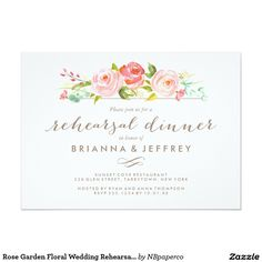 Rose Garden Floral Wedding Rehearsal Dinner Card Rehearsal dinner invitation featuring watercolor pink roses and a beautiful calligraphy font. Visit the shop to see the rest of the Rose Garden invitation suite.