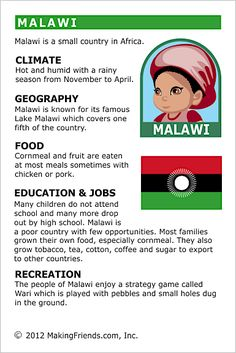 MakingFriends Facts about Malawi Printable Thinking Day fact card for our passports. Perfect if you chose Malawi for your Girl Scout Thinking Day or International Night celebration. Teaching Geography, World Geography, Teaching Kids, Facts For Kids, Fun Facts, Harmony Day, Around The World Theme, Little Passports, Social Studies Worksheets