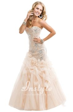 strapless trumpet caught-up tulle skirt prom dress with sequins