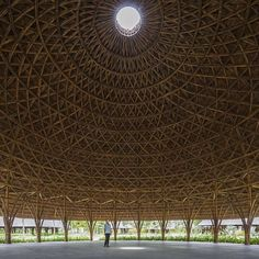 Inside a handwoven bamboo dome/ See why Diamond Island pavilions are a local's best friend along Vietnam's Saigon River #oculus #skylight #dome #architecture by architizer
