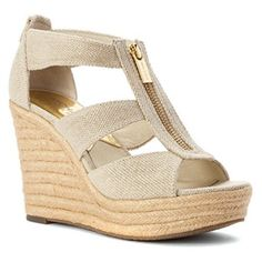 Womens MICHAEL Michael Kors Damita Wedge Espadrille Sandals - Natural - Walmart.com