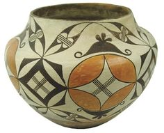 """Acoma Pottery Jar  Ca. 1930, Classic older wide-mouthed olla with traditional polychrome motif of scrolls, circles, etc. Very good condition, great patina, shows some use. 10"""" x 12"""""""