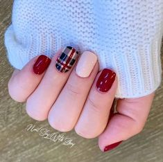 Get Nails, Fancy Nails, Trendy Nails, How To Do Nails, Hair And Nails, Nail Color Combos, Nail Colors, Cute Nails For Fall, Plaid Nails