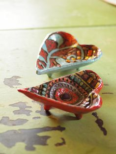Two Hearts Valentine Art Bowls - Textured Clay Mosaic Trinket Bowls, Set of Two - Colorful Whimsical Pottery Home Decor Wedding Gift