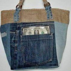 """Riciclando un paio di jeans non dimentichiamo di mettere dei dollari nella tasca...Porteranno fortuna. """"Tra gomitoli e bottoni hand made"""""""