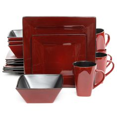 Gibson Overseas Kiesling 16-Piece Dinnerware Set in Red/Black