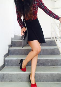 Et tu, Plaids ?? Fashionable skater skirt and plaid crop top are season's chic