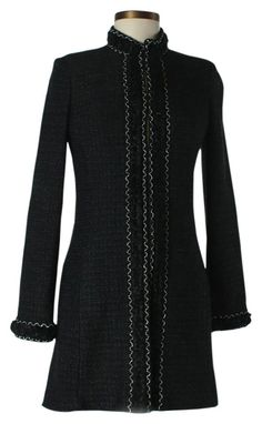 """St. John Couture Black Metallic Boucle Knit Silver Topper Jacket Coat. Metallic black and sliver boucle knit 3/4 length topper jacket with woven knotted trim and hook front closures, two pockets. Excellent very gently used condition with a few minor snags or pulls to knit or trim. Silk textile interior lining. Size US 4. Measurements: Bust 34"""", Length 32"""", Sleeve Length: 25"""" Materials not listed to care tag. Dry Clean Only. Made in the USA. Inventory No. 050910. Estimated Retail $2,500.00… Designer Clothing, Fashion Accessories, Couture, Silk, Knitting, Coat, Sleeves, Sweaters, Jackets"""