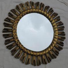 Miroir Doré Soleil Résine 61 Cm, A.ABC Pascal, Proantic