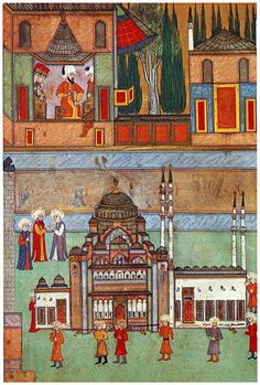 The Carrying in of A Model of Süleyman Mosque (Surname-i Hümayun (1582 CE Ottoman Miniature Painting))