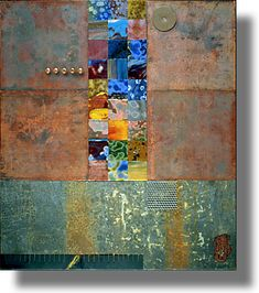 """The Waterfall"" assemblage of copper panels, found metal, copper ""slugs"" and opalescent glass tiles. Mounted on a wood frame panel with beautiful wood patterns on the sides."
