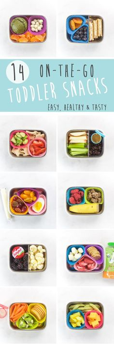 14 On-The-Go Toddler Snacks that are easy, healthy and yummy! If you have a toddler and need some snack ideas, look no further. These 14 snack boxes will keep you inspired for weeks.