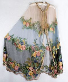 Tambour embroidered tulle evening cape, c.1920, from the Vintage Textile archives // embroidery inspiration