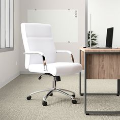 Upper Square™ Landyn Conference Chair & Reviews | Wayfair White Desk Chair, Desk Chairs, Conference Chairs, Conference Room, Home Office Chairs, Modern Office Chairs, Modern Offices, White Desks, Executive Chair