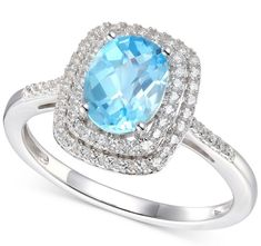 ) Ring in White Gold The polished luxury of white gold creates a dramatic setting for an oval-cut blue topaz and brilliant round diamonds on this stunning statement ring. Gemstone Jewelry, Jewelry Rings, Jewelry Watches, Fine Jewelry, Blue Topaz Ring, Statement Rings, Round Diamonds, White Gold, Engagement Rings
