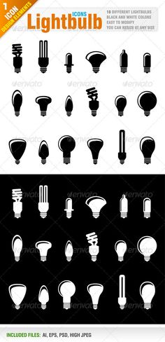 18 Lightbulb icons  #GraphicRiver         Set of 18 different lightbulb icons.  	 Black and white colors..  	 Ai, eps, psd and high jpeg files included in the zip file.  	 Please, dont forget to rate my vectors! Thank you    DESIGN ELEMENTS                                                                           Created: 17January12 GraphicsFilesIncluded: PhotoshopPSD #JPGImage #VectorEPS #AIIllustrator Layered: Yes MinimumAdobeCSVersion: CS Tags: black #bulb #collection #designelement…