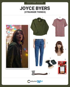 Get a costume like Joyce Byers the single mother looking for her son Will Byers in Stranger Things on Netflix. -Watch Free Latest Movies Online on Hallowen Costume, Diy Costumes, Costume Ideas, Stranger Things Mom, Joyce Byers Costume, Disfraces Stranger Things, Bob Ross, Stranger Things Halloween Costume, Hopper Stranger Things Costume