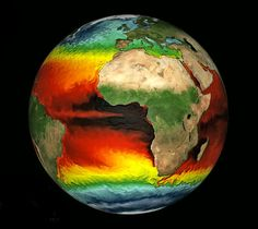 Fluid dynamics of Earth's ocean, colored by surface temperature.  Credit: NOAA, Thomas Delworth, Anthony Rosati
