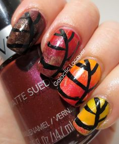 nail art thanksgiving | Thanksgiving Nail Art Challenge - Leaves