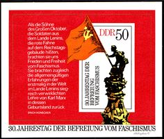 German Democratic Republic.  305) ANNIVERSARY OF FREEDOM FROM FASCISM.  SOUVENIR SHEET.  Scott 1643 A500, Issued 1975 May 6, 50.  /ldb.  (MINT)