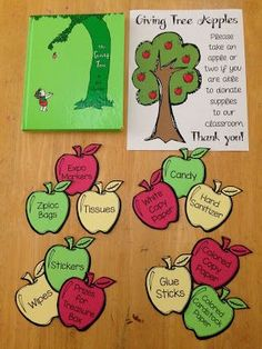 Set up a giving tree before Open House or Parent Teacher Conferences so parents can donate supplies to your classroom. Set up a giving tree before Open House or Parent Teacher Conferences so parents can donate supplies to your classroom. Preschool Open Houses, Kindergarten Classroom, Kindergarten Open House Ideas, Kindergarten Orientation, Parent Orientation, Preschool Themes, Beginning Of The School Year, New School Year, Classroom Organization