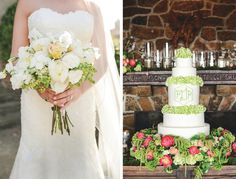 Loving this classy Memphis wedding with a chic green and pink color palette! Feauring a wedding gown from @mlbridal and rentals/decor by @classicpr, with images by Lindsey Lissau Photography | The Pink Bride www.thepinkbride.com