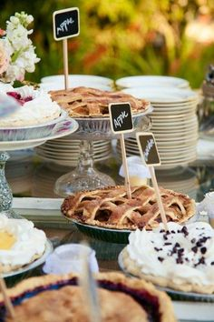 California Ranch Wedding An assortment of pies makes a great wedding dessert table at this shabby chic wedding. Blake Photography}An assortment of pies makes a great wedding dessert table at this shabby chic wedding. Buffet Dessert, Dessert Bars, Dessert Tables, Dessert Ideas, Dessert Display Table, Cake Ideas, Wedding Desserts, Wedding Cakes, Bbq Desserts