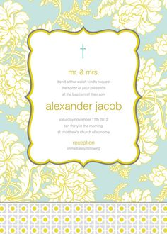Pale Blue and Gold Brocade Baptism Invitation