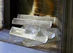Jeff Benroth Glass Fireplace Logs (sexg contrast with black or blended with white tile)