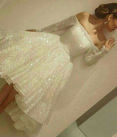 White sequins long sleeve homecoming dress ce4f22f2e794