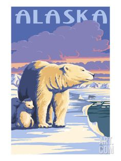 Art.fr - Reproduction artistiques 'Alaska - Polar Bear at Sunrise' par Lantern Press