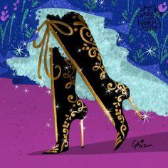 Day 11 -- Anna in @casadeiofficial inspired boots. #griz #grizandnorm #fanart #fashionart #fashionillustration #shoedesign #shoelust #shoeenvy #disney #frozen #anna #casadei #boots