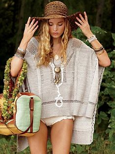 hippie style boho hat, bag, hat, bangles, & cover up