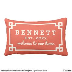 Personalized Welcome Pillow | Orange Red