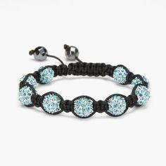 Aquamarine Crystal Shamballa Bracelet #Kalifano