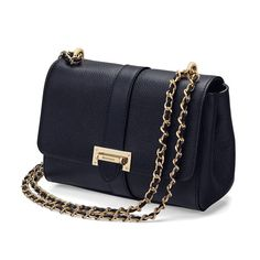 4266dbf73601b Lottie Bag in Smooth Navy from Aspinal of London Black Pebbles