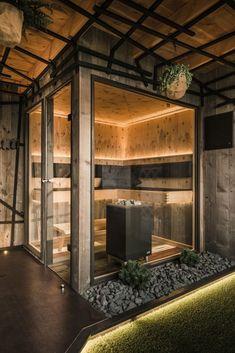 Chalet Design, Ski Chalet Decor, Sauna House, Sauna Room, Sauna Design, Home Gym Design, Modern Saunas, Brook House, Outdoor Sauna