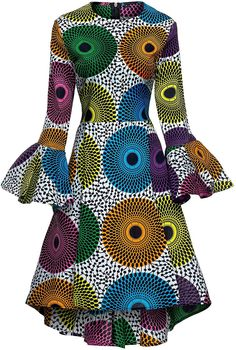 Shenbolen Women African Print Dresses Autumn and Winter Long Sleeves Ankara Dress at Women's Clothing store: African American Fashion, African Print Fashion, Africa Fashion, African Print Dresses, African Fashion Dresses, African Dress, African Outfits, African Clothes, African Prints
