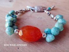 Pulseras de piedras preciosas naranja turquesa por hogwildjewelry