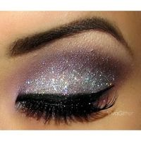 Silver sparkle glitter eye shadow
